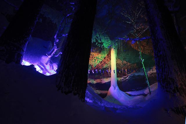 巨大な氷柱と化した乳穂ヶ滝(西目屋村)