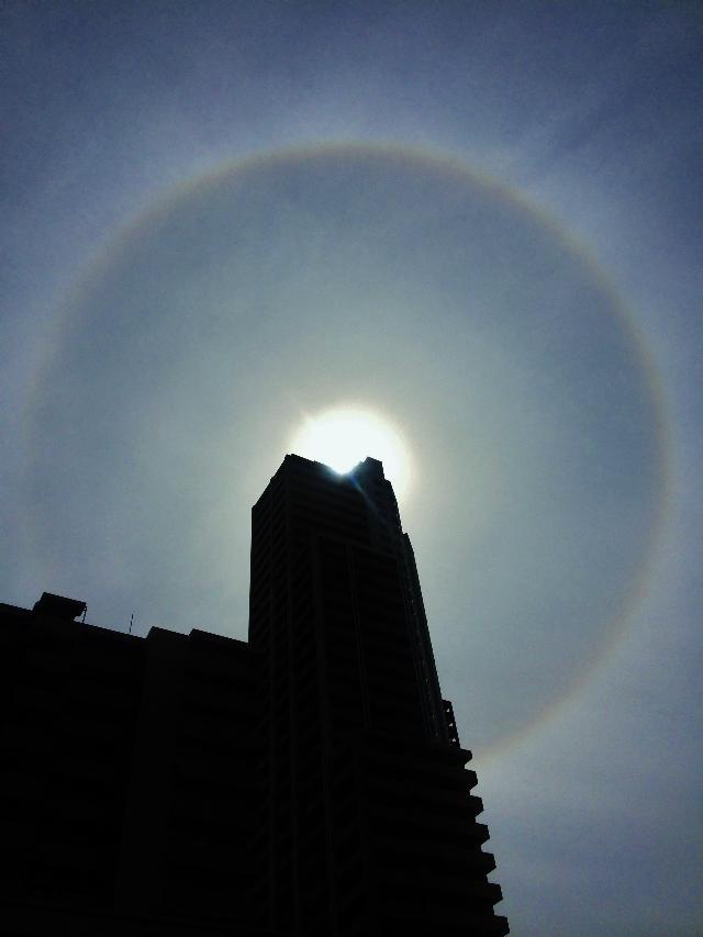 大輪の日暈(ハロ)空に咲く