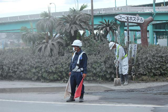 25日の桜島噴火後の桜島周辺(2)