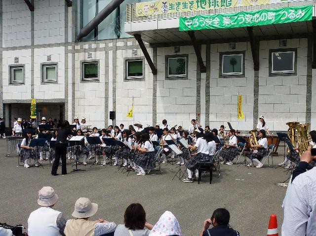 今津中学校 吹奏楽部 発表会 いきいき地球館前