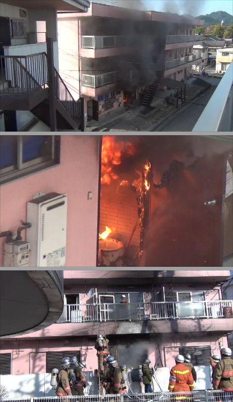 早朝のマンション火災