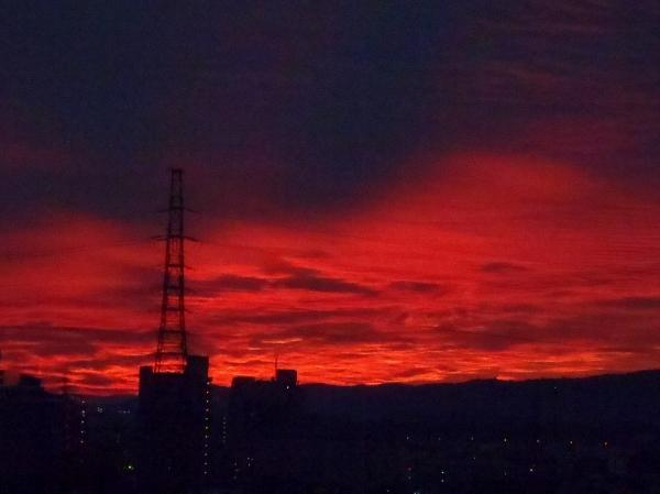 からだごと燃え立つような夕焼け空